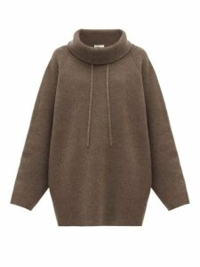 The Row - Carnia Funnel Neck Wool Blend Sweater - Womens - Light Brown