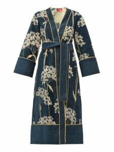 F.r.s - For Restless Sleepers - Nomos Floral-jacquard Chenille Evening Coat - Womens - Navy Multi