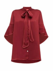 F.r.s - For Restless Sleepers - Diana Pussy-bow Hammered-satin Blouse - Womens - Burgundy