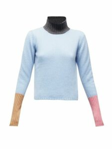 Marni - Colour Block High Neck Cashmere Sweater - Womens - Blue Multi