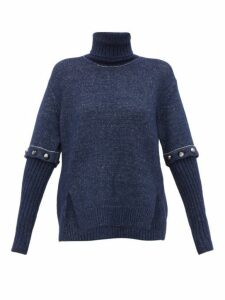 Chloé - Roll-neck Detachable-sleeve Knitted Sweater - Womens - Navy