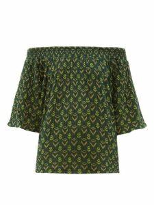 Ace & Jig - Marisol Bardot Cotton-jacquard Top - Womens - Green Multi