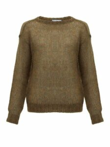 Prada - Dropped Shoulder Mohair Blend Sweater - Womens - Dark Green