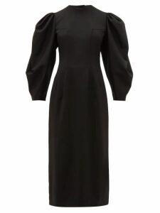 Sara Battaglia - Open-back Balloon-sleeve Wool-blend Twill Dress - Womens - Black