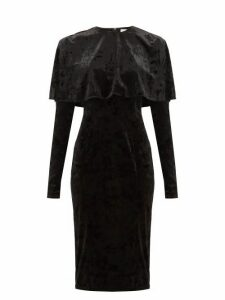 Sara Battaglia - Caped Crushed-velvet Dress - Womens - Black
