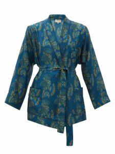 Zeus + Dione - Idille Fan-print Silk-twill Jacket - Womens - Blue Multi