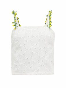 Staud - Beaded Broderie-anglaise Camisole Top - Womens - White