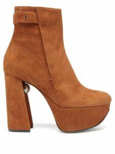 Nicholas Kirkwood - Miri Faux Pearl Embellished Suede Platform Boots - Womens - Tan