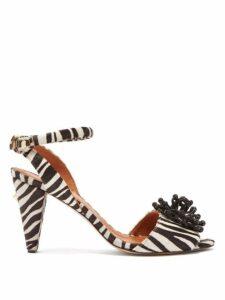 Osman - Mae Zebra Calf Hair Sandals - Womens - Black White