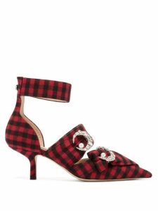 Midnight 00 - Crystal Embellished Checked Twill Pumps - Womens - Black Red