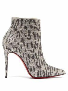 Christian Louboutin - So Kate 100 Leopard Print Ankle Boots - Womens - Silver
