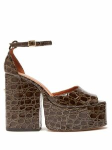 Osman - Gesa Crocodile-effect Leather Platform Sandals - Womens - Khaki
