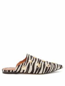 Osman - Heidi Zebra-print Calf-hair Backless Loafers - Womens - Black White