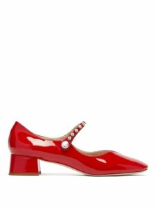 Miu Miu - Crystal Embellished Mary Jane Leather Pumps - Womens - Red