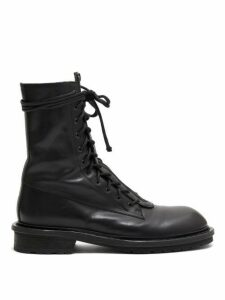 Ann Demeulemeester - Double Lace Up Leather Boots - Womens - Black