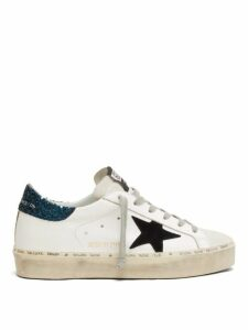 Golden Goose - Hi Star Glittered Leather Trainers - Womens - Blue White