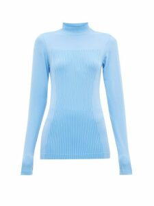 Falke - High-neck Stretch-jersey Performance Top - Womens - Light Blue
