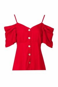 Womens Button Detail Volume Sleeve Top - red - 8, Red