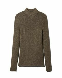 Sandro Shinny Metallic Mock Neck Sweater