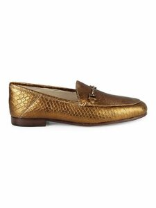 Loraine Snakeskin Embossed Leather Loafers