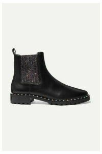 Sophia Webster - Bessie Studded Leather And Glittered Stretch-knit Chelsea Boots - Black