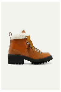 Chloé - Bella Shearling-lined Lizard-effect Leather Ankle Boots - Tan