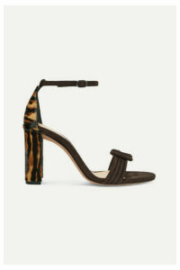 Alexandre Birman - Vicky Knotted Leopard-print Calf Hair And Suede Sandals - Brown