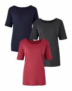 Navy/Charcoal/Berry Pack of 3 T Shirts