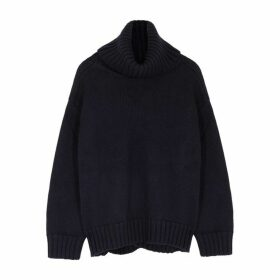MONSE Navy Roll-neck Merino Wool Jumper