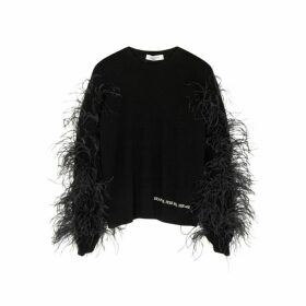 Valentino Feather-embellished Wool-blend Jumper