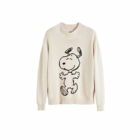 Chinti & Parker Cream Snoopy Hug Cotton Sweater