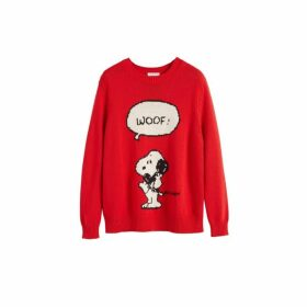 Chinti & Parker Red Snoopy Woof Cotton Sweater