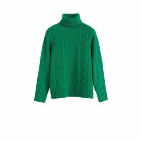 Chinti & Parker Green Pop Aran Merino Wool Sweater