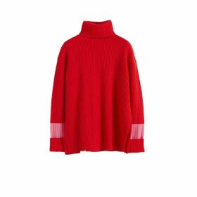 Chinti & Parker Red Rib Merino Wool Rollneck Sweater