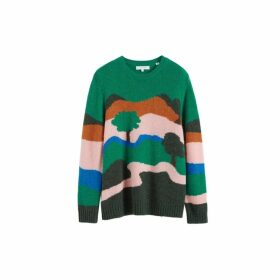 Chinti & Parker Green Landscape Alpaca-wool Sweater