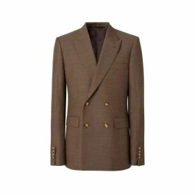 Burberry English Fit Sharkskin Wool Double-breasted Jacket
