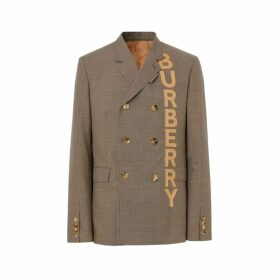Burberry Slim Fit Logo Print Cotton Wool Blend Tailored Jacket