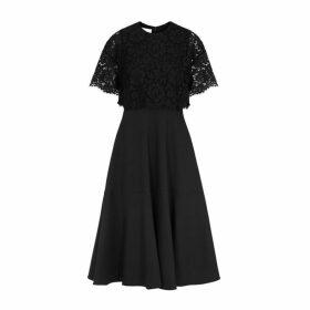 Valentino Lace And Wool-blend Midi Dress