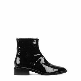 Clergerie Paris Xaviere Black Patent Leather Ankle Boots