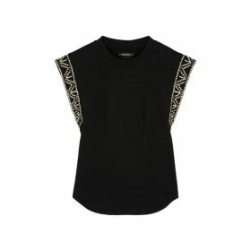 Isabel Marant Yelani Black Embellished Cotton Top