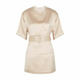 Jil Sander Loto Blush Belted Satin Top