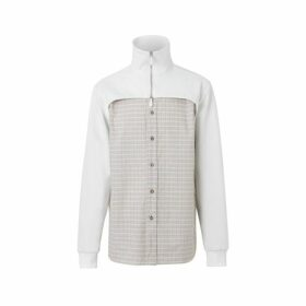 Burberry Track Top Detail Small Scale Check Cotton Shirt