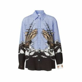 Burberry Ship Print Silk Oversized Shirt