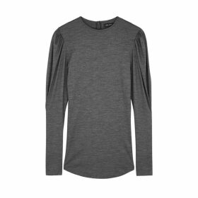 Isabel Marant Davallia Grey Puff-sleeve Wool Top