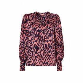 Kitri Penny Animal Print Silk Blouse