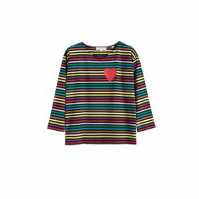 Chinti & Parker Navy Striped Heart Cotton T-shirt