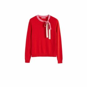 Chinti & Parker Red Tie Neck Cashmere-wool Sweater