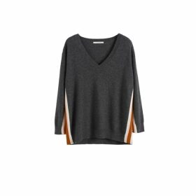 Chinti & Parker Grey Heritage Striped Wool-cashmere Sweater