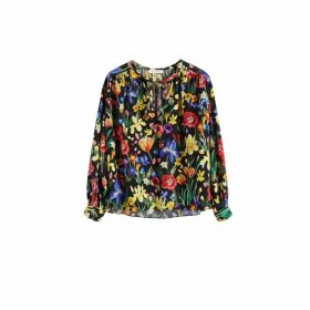 Chinti & Parker Black Charleston Floral Print Silk Blouse