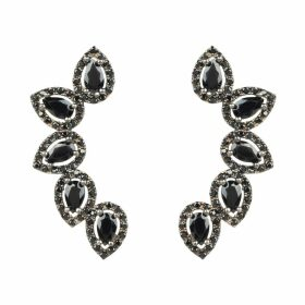 LATELITA - Ursula Ear Climber Black Pair Silver